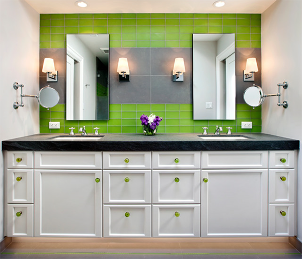 bathroom vanity with bright green backsplash