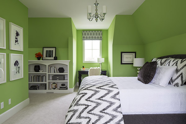 bedroom with bright green walls