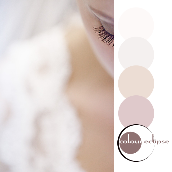 close-up of blushing bride with color palette