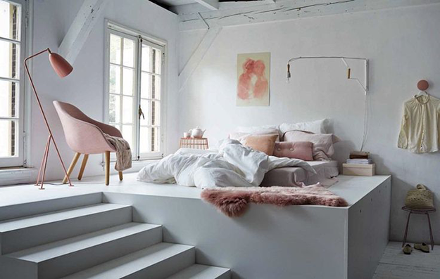 loft style casual bedroom with rose quartz pink accents