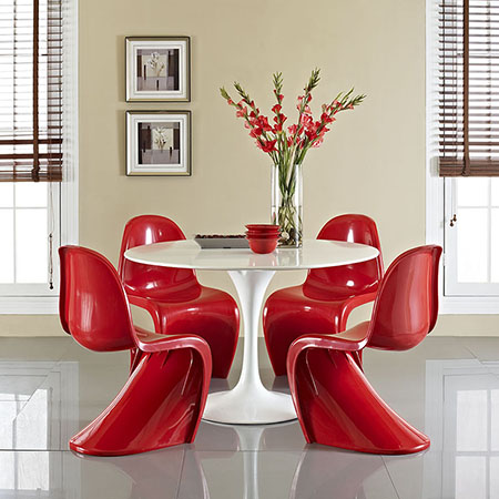 Classic modern bright red molded chairs white tulip table