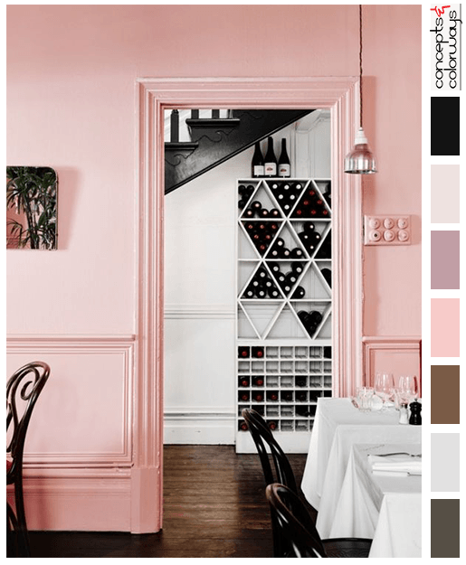 pantone rose quartz cafe interior with color palette
