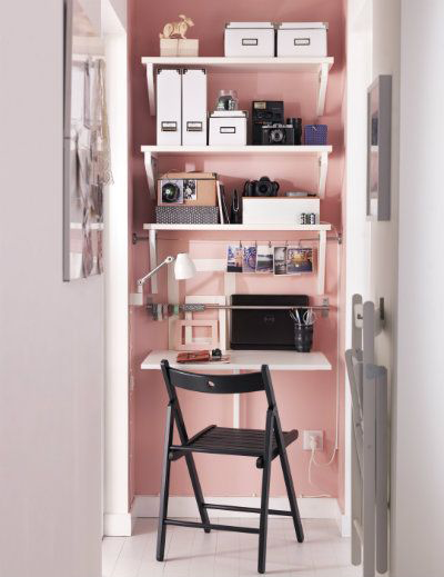 closet office with rose quartz wall color
