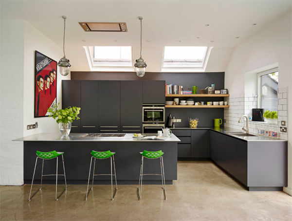 dark gray and white kitchen with bright green accent