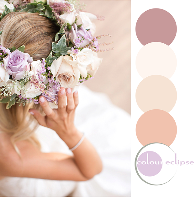 bride with flower crown inspired color palette