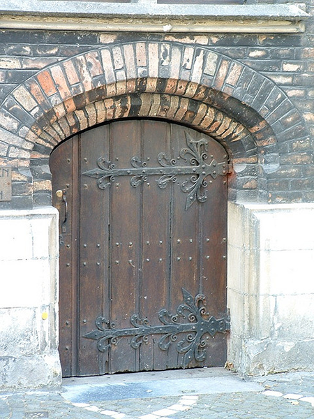 old wood Bruges door
