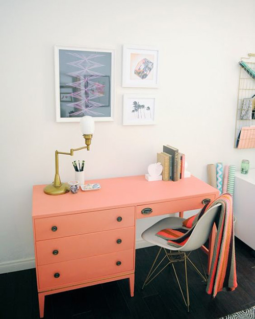 home office with coral desk