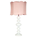 white table lamp with rose quartz shade