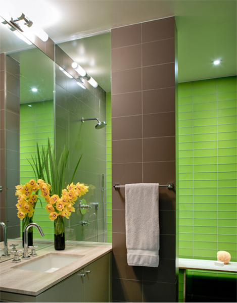 modern bathroom design with bright green tile accent wall