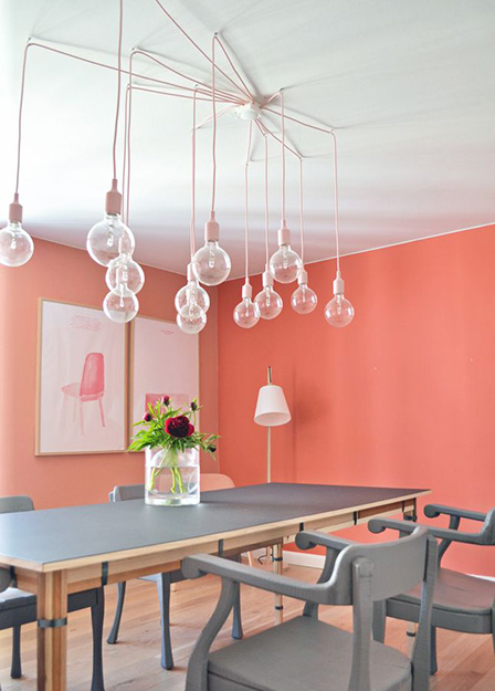 pantone peach echo modern dining room