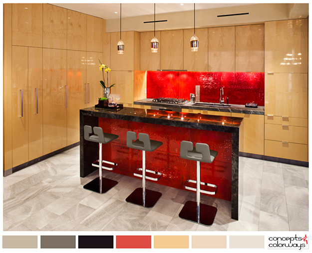 modern kitchen color palette with bright red accent