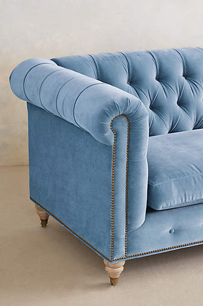 sky blue velvet tufted sofa
