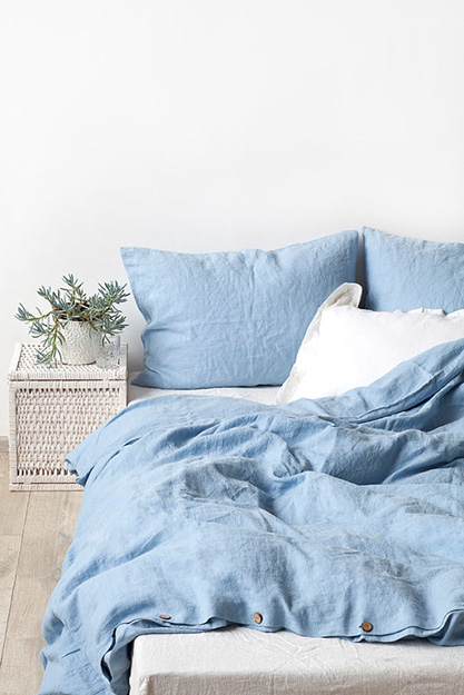sky blue linen bed set