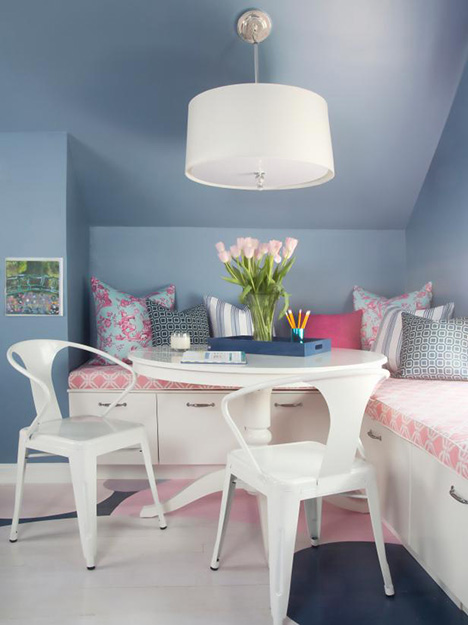 pantone serenity girls room with pink accents