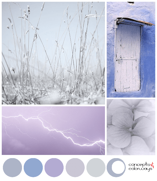 purple blue and gray color palette mood board