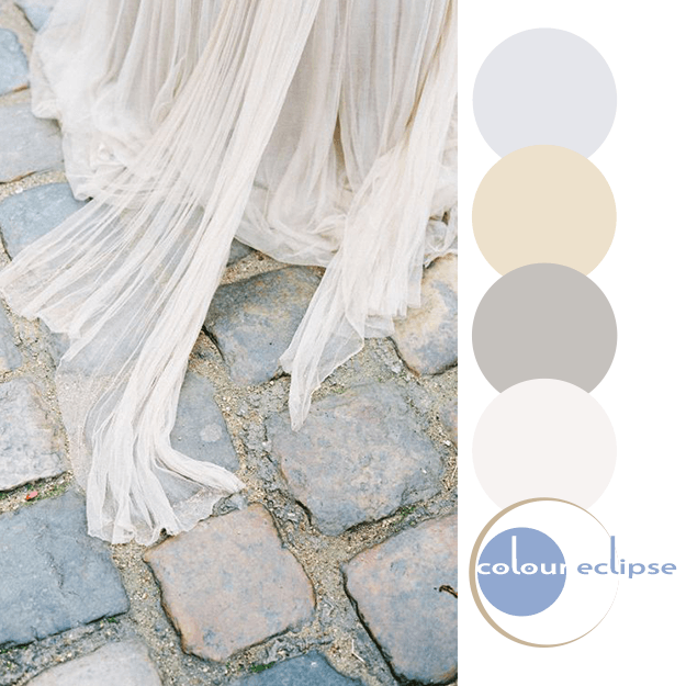 ivory gown over stone pavers with color palette