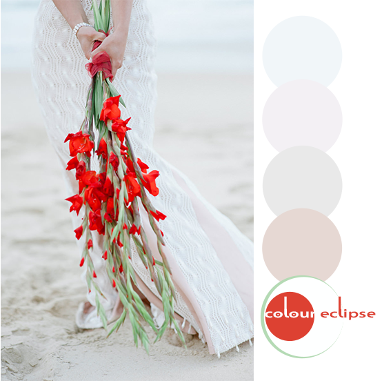 bride holding bright red bouquet with color palette