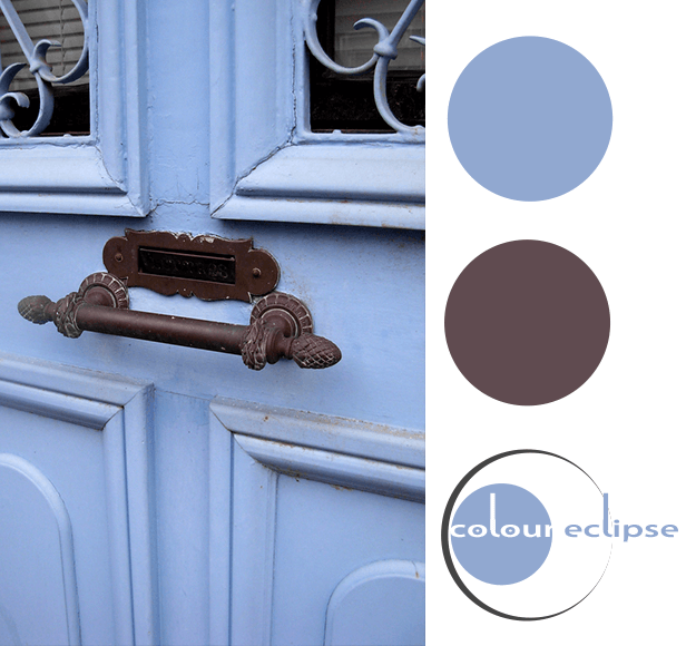 pantone serenity blue and dark bronze color palette
