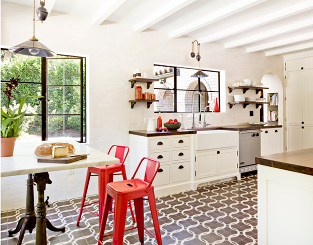 White kitchen with bright red accents2
