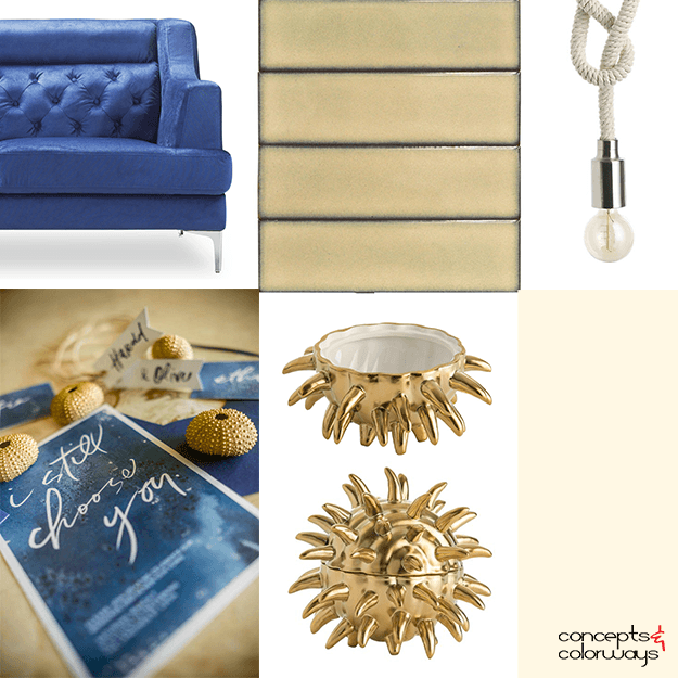 marine blue and tan interior idea board