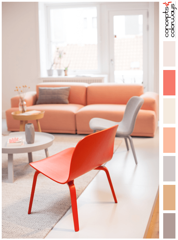 peach and gray interior color palette