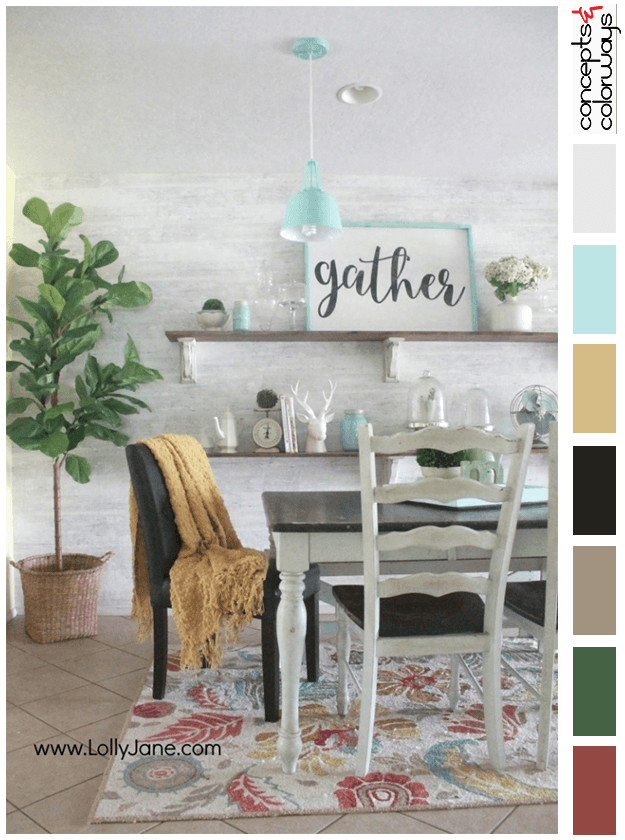 modern farmhouse dining room with color palette