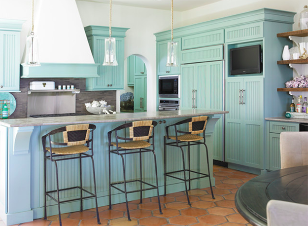 light turquoise and white kitchen