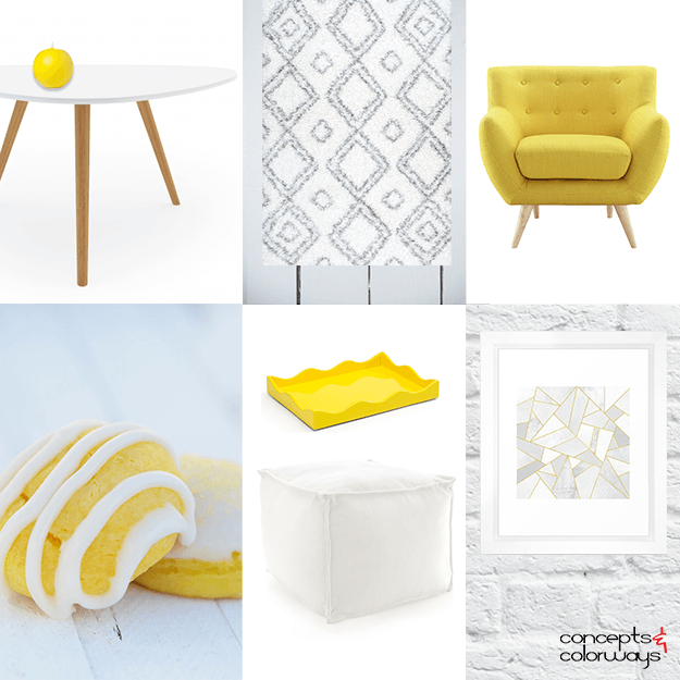 bright yellow and white interior idea board