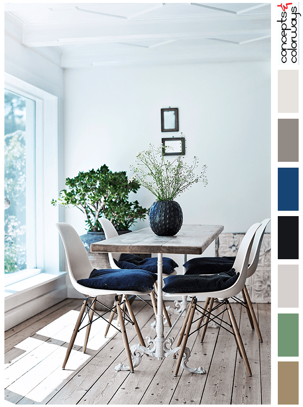 dark blue and natural wood color palette