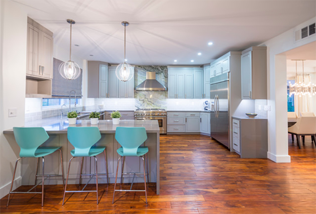 modern kitchen with light turquoise accents