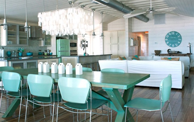 modern interior with light turquoise accents