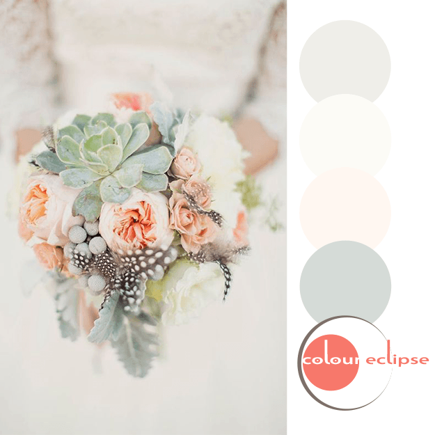succulent and peach bouquet with color palette