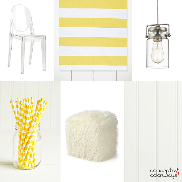 bright yellow stripes interior idea board