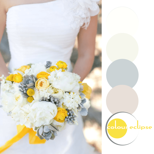 yellow eucalyptus and white color palette