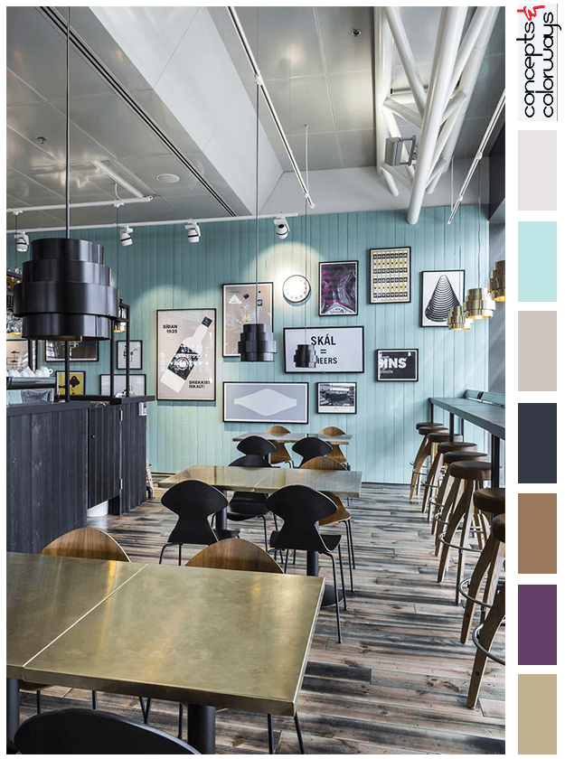 turquise and wood brown interior color palette