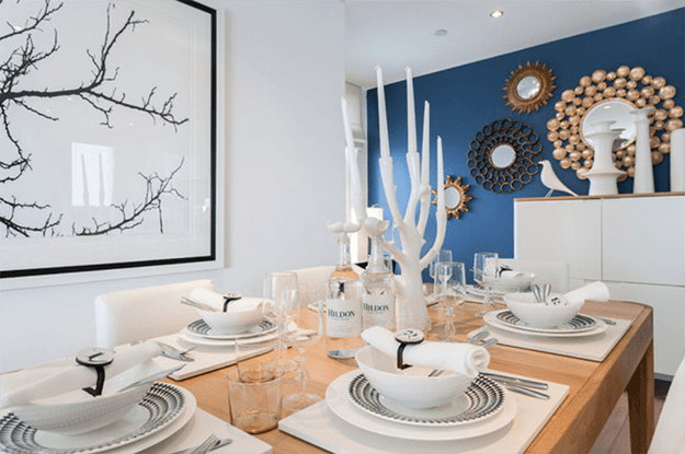White Dining Room With Pantone Snorkel Blue Accent Wall