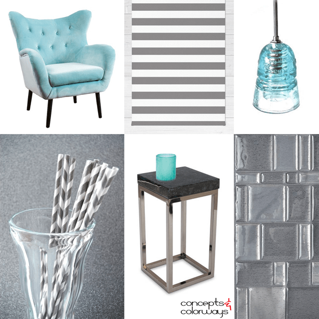 gray and white interior idea board with aqua accents