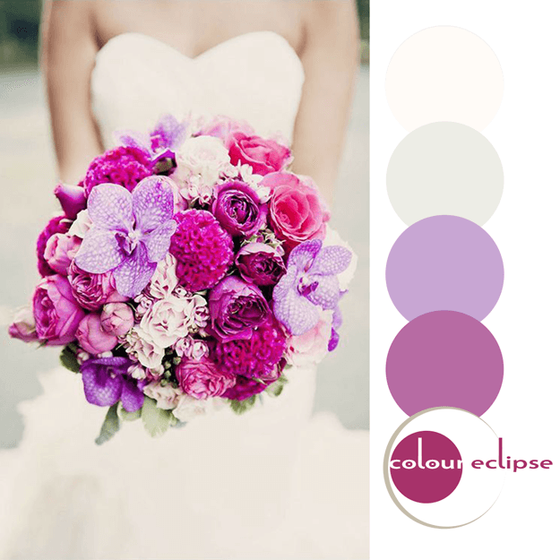 purple bouquet with color palette
