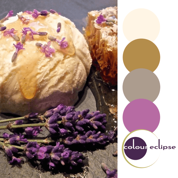 lavender honey ice cream with color palette