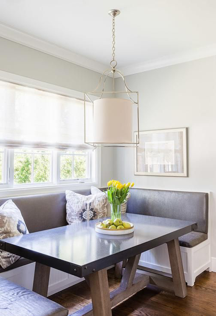 breakfast nook with gunmetal gray built-in bench