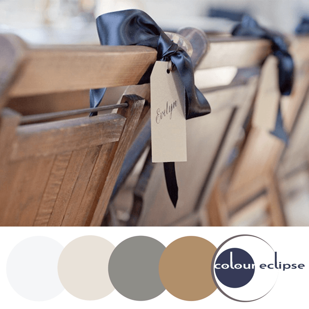 caramel brown and navy color palette