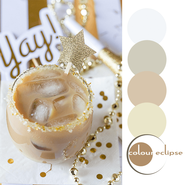 pantone iced coffee white and gold color palette