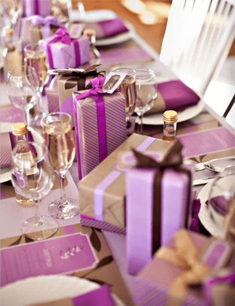 plum purple and gold party table design