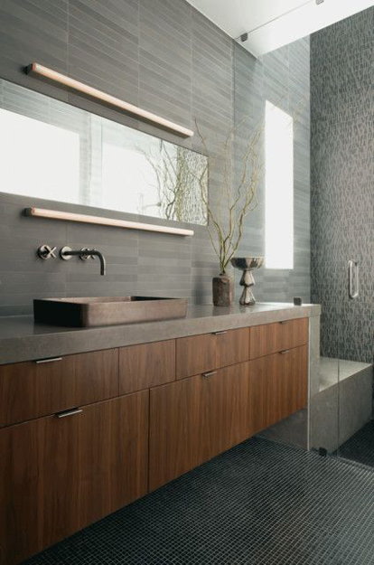 modern bathroom with gray wall tile