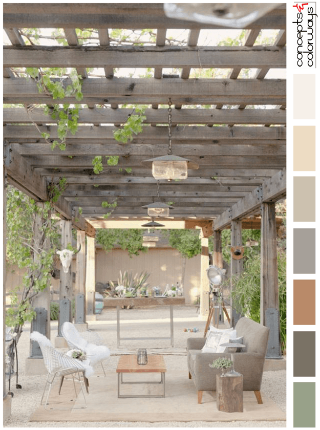 outdoor pavilion living area with color palette