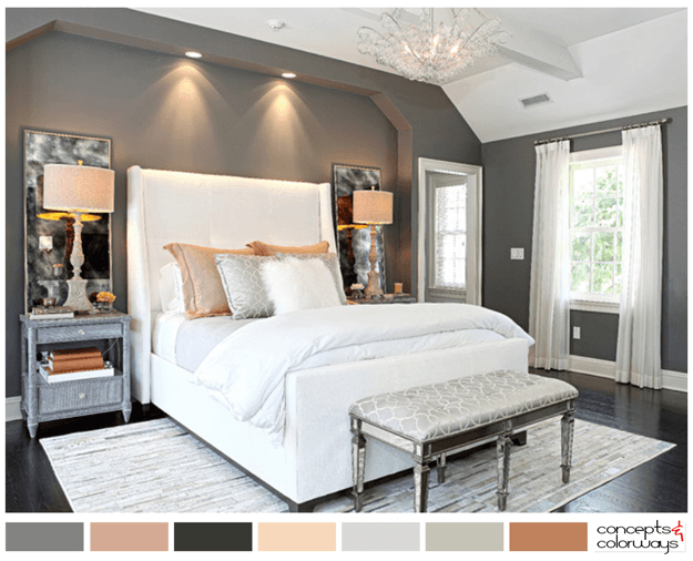 Bedroom Color Palette. Gray White And Peach Bedroom Color Palette