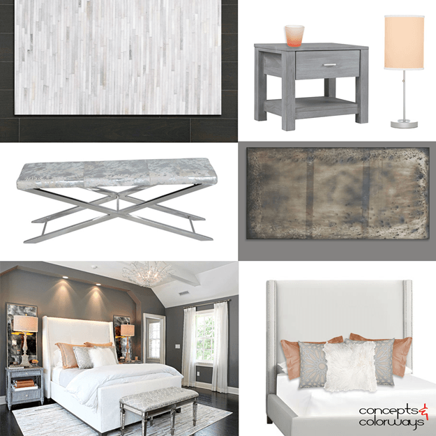 gray white and peach interior idea board - Interior Design Idea Board