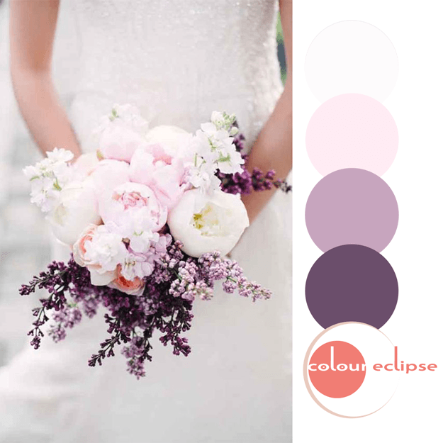 purple pink and white bouquet color palette