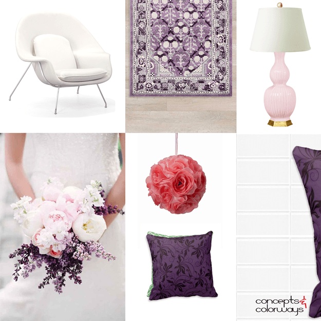 purple and pink bouquet inspired interior idea board