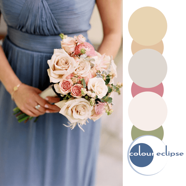 dusty blue and rose color palette